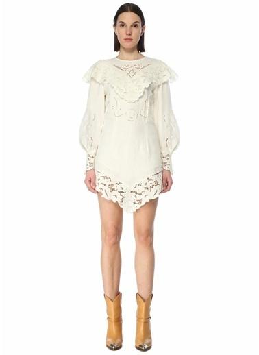 Etoile Isabel Marant Isabel Marant  Dantel İşlemeli Mini Keten Elbise 101623683 Ekru
